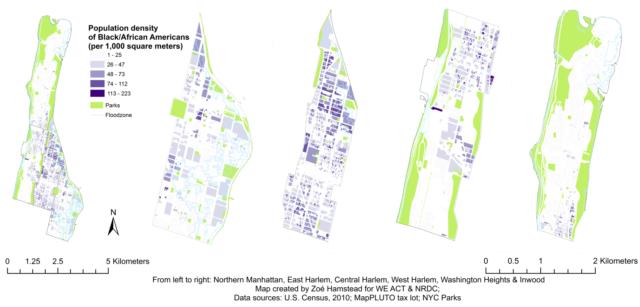 Map Distribution of Blacks in Northern Manhattan