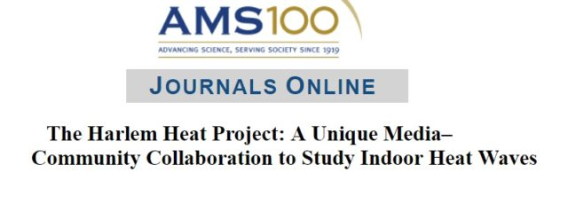 Harlem Heat Project in the American Meteorological Society's Journal – January 7, 2019