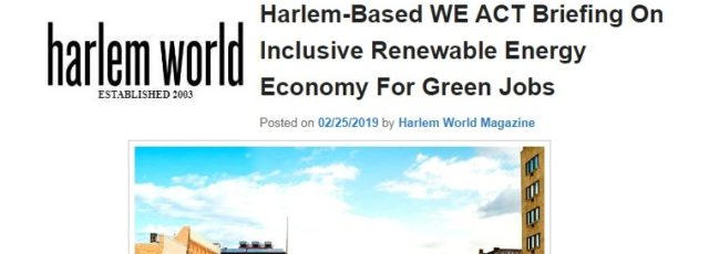 Green Jobs Panel in Harlem World Magazine – February 25, 2019