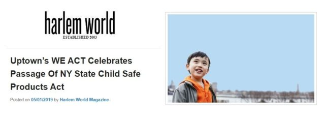 Child Safe Products Act Coverage in Harlem World Magazine – May 1, 2019