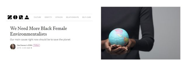 Kerene Tayloe Quoted on Need for More Black Female Environmentalists in Zora – July 15, 2019