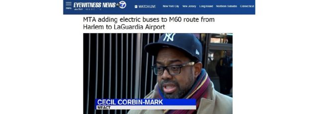 Cecil Corbin-Mark Interviewed by WABC TV Channel 7 on the MTA Introducing Electric Buses in Harlem – January 29, 2020