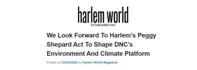 Peggy Shepard's DNC Climate Platform Committee Appointment Featured in Harlem World – March 24, 2020