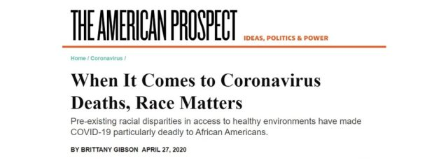 Peggy Shepard Talks to American Prospect About COVID-19 in Communities of Color – April 27, 2020