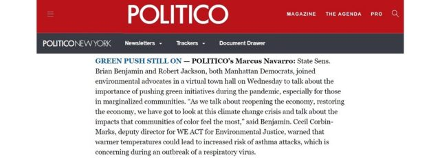 Cecil Corbin-Mark Cited in Politico on COVID-19 Concerns – May 7, 2020