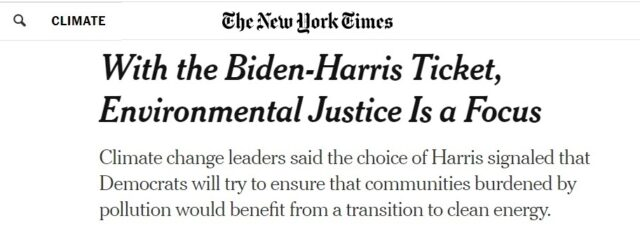 Kerene Tayloe Emphasizes the Importance of Environmental Justice for the Next Administration in the New York Times – August 12, 2020