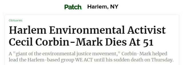 Harlem Patch Shares the Loss of Cecil-Corbin-Mark – October 16, 2020