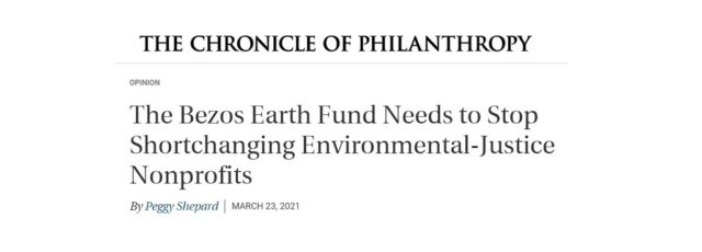 Peggy Shepard Equitable Climate Funding Op-Ed in the Chronicle of Philanthropy – March 23, 2021
