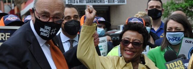Peggy Shepard Joins Senate Majority Leader Chuck Schumer in East Harlem – May 4, 2021