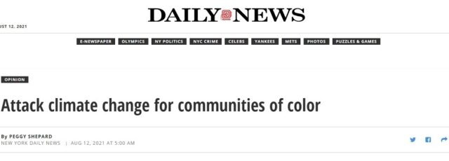 Peggy Shepard's Extreme Heat in East Harlem Op-Ed in the Daily News – August 12, 2021