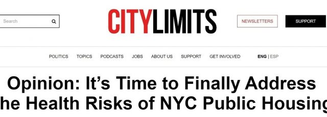 Ashley James Writes Op-Ed on Health Inequities in NYCHA in City Limits – October 7, 2021